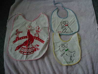 lot 3 vintage baby bibs circus and dog designs 1940s 1950s