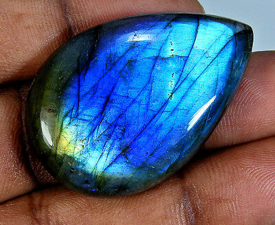70.00cts. Natural Blue labradorite Cabochon Gemstone Pear ;#61255