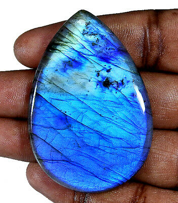 "112.05cts. Natural ""Fantastic"" Blue labradorite Cabochon Gemstone Pear ;#41705"