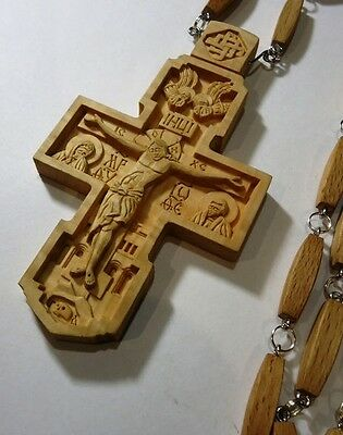 NEW!!! Exclusive Pectoral Cross Wooden Hand Carved Crucifix + Chain #215