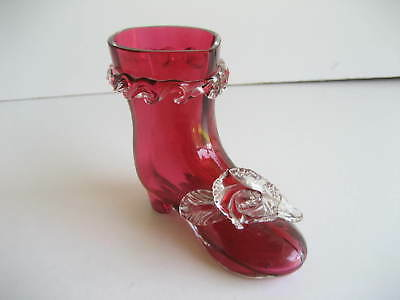 Victorian Cranberry Glass Vase Shape of a Boot