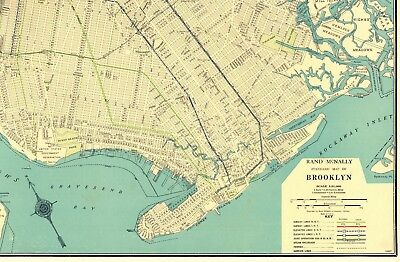 Map Of New York Brooklyn.1930 Rare Size Antique Brooklyn New York Map Vintage Map Of Brooklyn 5335