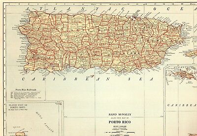 1932 Antique PUERTO RICO Map w RAILROADS Vintage Map of Puerto Rico 5337