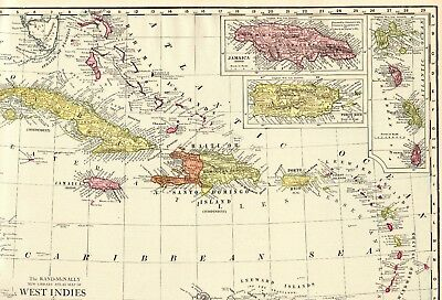 1914 Antique CARIBBEAN Map Vintage Map of Jamaica The Bahamas Puerto Rico 5338