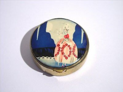 Vintage Art Deco FRENCH Lady Bakelite Celluloid Powder Compact Box 1920s 1930s