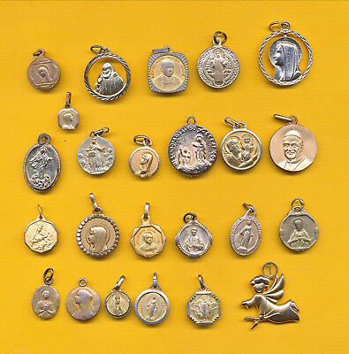 B088) Lot of 24 vintage heavy golded charm catholic medals -  Religious medal
