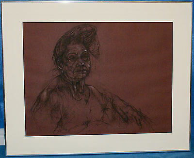 M.Brien-Carson Framed Signed Original Charcoal Drawing of Old Woman