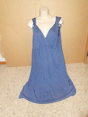 Oh Baby Maternity Night Gown Size XL Blue/White Polka Dot Sleepwear VGUC