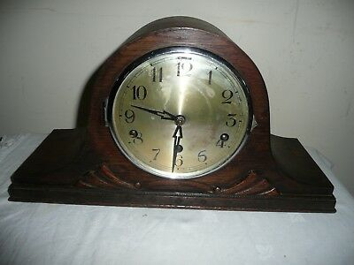 Antique, Westminster Chimes Mantle Clock in Nicely Carved Oak Case,Working Order