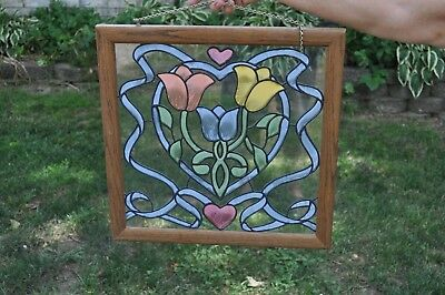 "Vintage 18"" PAINTED STAINED GLASS FLORAL WOOD FRAMED PANEL Sun Catcher TULIP ART"