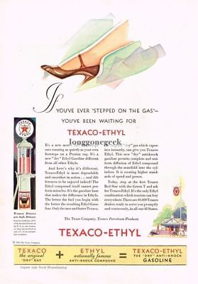 1930 TEXACO-ETHYL Gasoline Dry Gas Woman's foot on gas pedal art Vtg Print Ad
