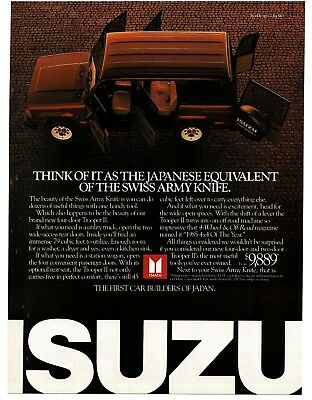 1986 ISUZU TROOPER II Black Station Wagon VTG PRINT AD