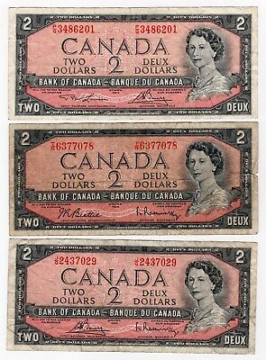Lot Of 3 1954 Bank Of Canada Two 2 Dollar Bank Notes Nice Bills Different Sig.