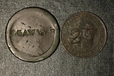 Countermarked Coins J SAWYER 1797 and 1870 Penny Centimos (Tray 110)