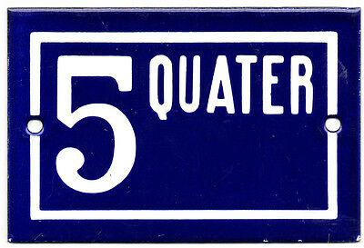 Old blue French house number 5 Q door gate plate plaque enamel steel metal sign