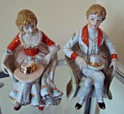 2 Vintage Unmarked Pottery Seated Figures - 1 Man & 1 Woman - Pretty & Cheap!