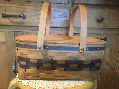 "Hershberger Sewing Basket. 13"" L x 10"" W x 5.5"" H.  2 Levels.  One for spools."