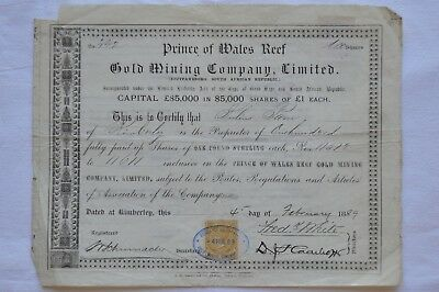 Prince of wales Reef - Gold mining company - South African republic - 1889