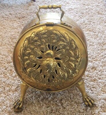 Antique Art Nouveau Style Brass Coal Scuttle - Great Decorator Piece!