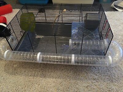 Large Hamster Cage With Built In Tunnel, Wheel, Water Bottle And House