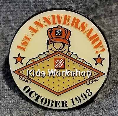 LMH PINBACK Pin 1998 HOME DEPOT Employee Insignia KIDS WORKSHOP 1st ANNIVERSARY