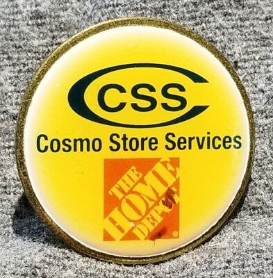 LMH PINBACK Pin HOME DEPOT Employee CSS Cosmo Store Services Research Apron 1""