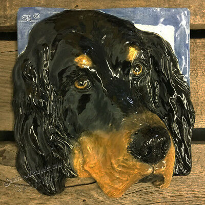Gordon Setter Dog Ceramic Relief 3D Tile Handmade 3d Pet Portrait Alexander Art