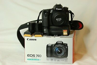 Canon 70D + Battery Grip; 600X strap; Sony 64GB SD 20.2 MP Excellent Low Shutter