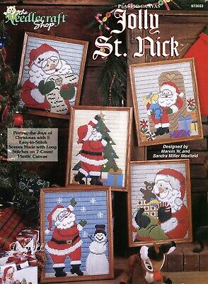 Jolly St. Nick Pictures quick longstitch plastic canvas patterns Rare new