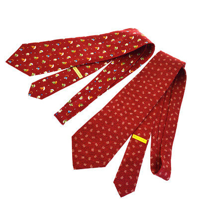 Authentic BVLGARI 2 Set Scarf Neck Tie 100% Silk Red Italy Accessory 03BC277