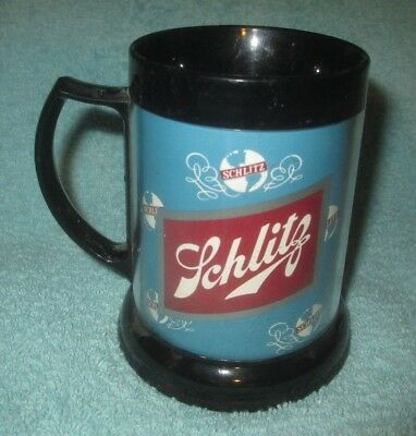 vintage SCHLITZ BEER THERMO INSULATED PLASTIC MUG made in U.S.A. DAWN  man cave