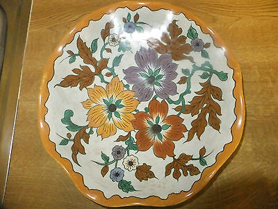 Gouda Pottery Late 40,s Fluted Rimmed Large Bowl With Lustre Flowers