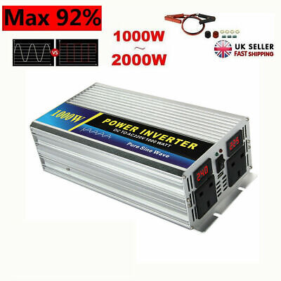 1000W/2000W PURE SINE WAVE POWER INVERTER DC12V to AC 240V CAR CARAVAN CAMPING