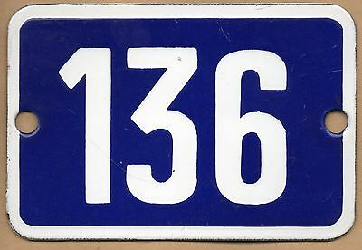 Cute old blue French house number 136 door gate plate plaque enamel metal sign