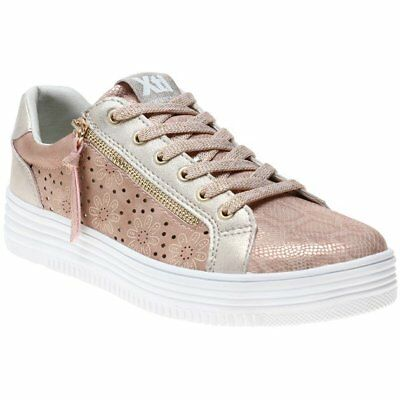New Womens XTI Nude Pink 48030 Synthetic Trainers Flats Lace Up