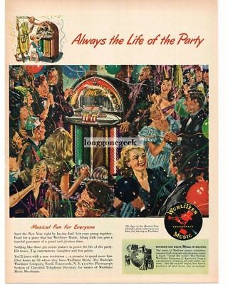 1948 WURLITZER Juke Box New Year's Eve Party art by ALBERT DORNE Vtg Print Ad