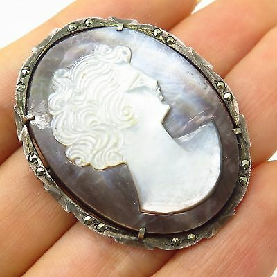 Antique 800 Silver Real Marcasite Victorian Lady Cameo Design Pendant / Brooch