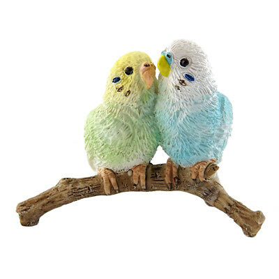 "Mini Budgie Parakeets Figurine Blue and Green 1.75"" High New In Box!"