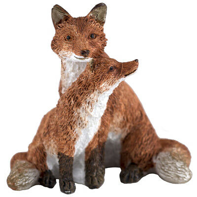 """Mini Red Fox Mother With Baby Kit Figurine 2"""" High New In Box!"""