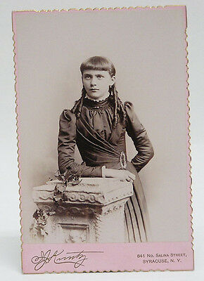 Cabinet Card Photo Young Girl with long braids c1890 by Kuntz Syracuse NY