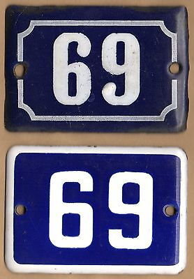 Cute old blue French house number 69 door gate wall enamel street sign plaque