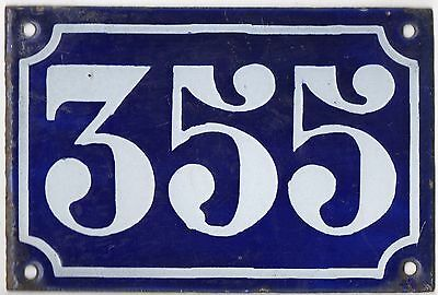 Old blue French house number 355 door gate plate plaque enamel metal sign c1900