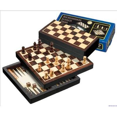 Philos Chess/Backgammon/Checkers/Travel Set with Magnetic Lock