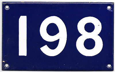Old Australian used house number 198 861 door gate enamel metal sign French blue