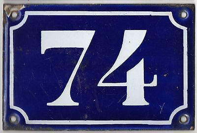 Old blue French house number 74 door gate plate plaque enamel metal sign c1900