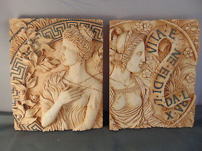 Pair Greek female wall hangings Life is Beautiful theme white antique finish art