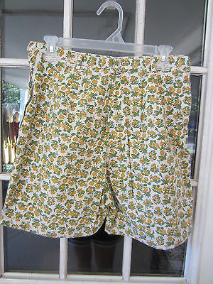 1960s handmade side zip floral print bermuda shorts ladies Large hi waist