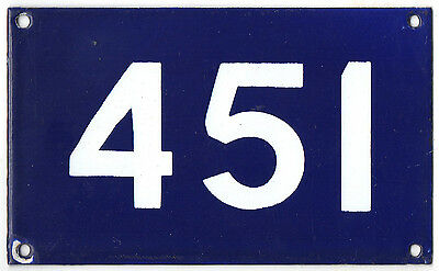 Old Australian house number 451 door gate plate plaque enamel sign French blue