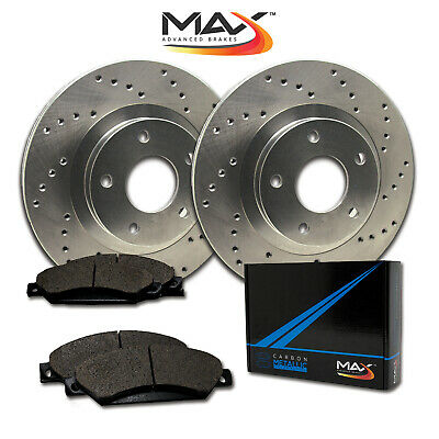 2007 2008 Chevy Suburban 1500 2WD/4WD Cross Drilled Rotors w/Metallic Pads R