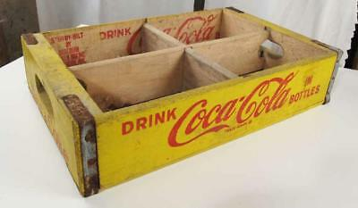 Coca Cola Yellow Crate 1969 Jonesboro Arkansas Wood 2 Dividers